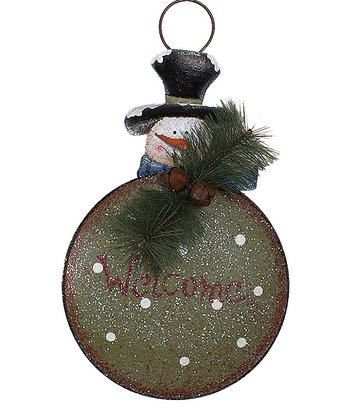 Green 'Welcome' Snowman Wall Hanging