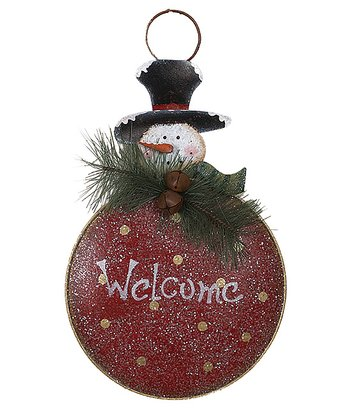 Red 'Welcome' Snowman Wall Hanging