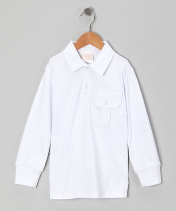 White Long-Sleeve Polo - Infant & Toddler
