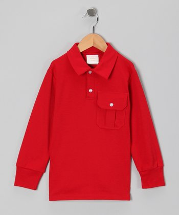 Red Long-Sleeve Polo - Infant