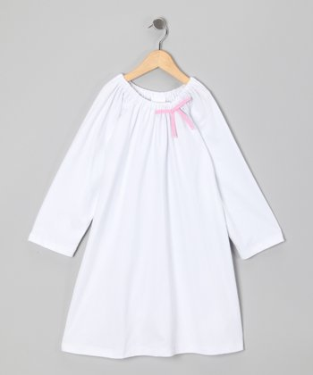 White & Fuchsia Bow Aubrey Dress - Infant, Toddler & Girls