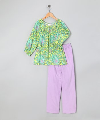 Lavender & Green Paisley Gathered Top & Pants - Girls