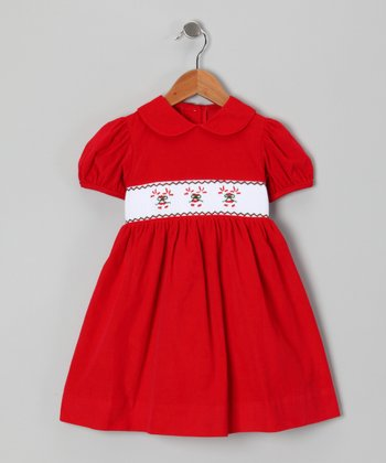 Travelin' Trunk Red Candy Cane Smocked Dress