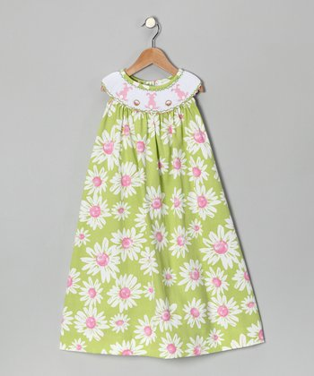 Lime Floral Bunny Smocked Dress - Infant, Toddler & Girls
