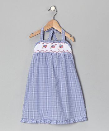 Light Blue Flag Smocked Dress - Infant, Toddler & Girls