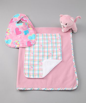 Pink Plaid Groovy Blanket Set