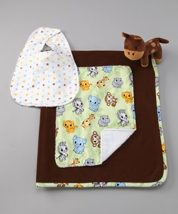 Brown Zoo Blanket Set