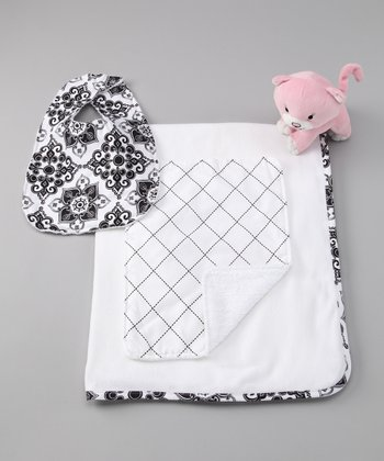 Black Lattice Blanket Set
