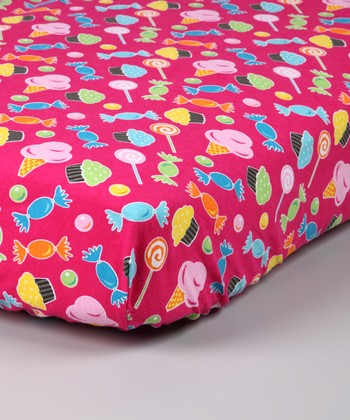 Pink Candy Flannel Crib Sheet