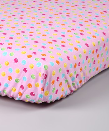 Light Pink Gumdrop Flannel Crib Sheet