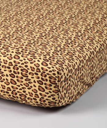 Tan Leopard Flannel Crib Sheet