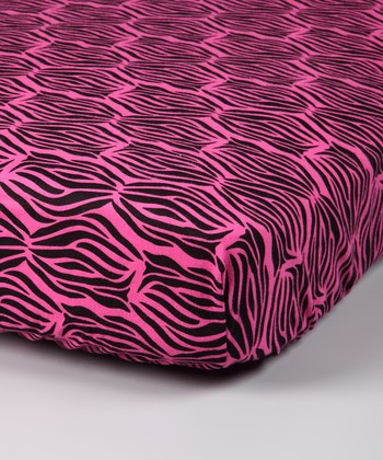 Pink Zebra Flannel Crib Sheet