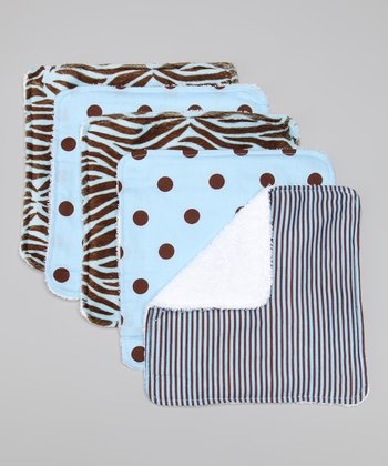 Sweet Safari Blue Washcloth Set