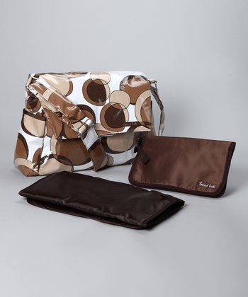 Trend Lab Brown Bubble Messenger Diaper Bag & Clutch