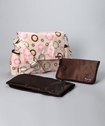 Trend Lab Pink & Brown Messenger Diaper Bag & Clutch