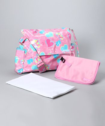 Trend Lab Pink Groovy Love Messenger Diaper Bag & Clutch