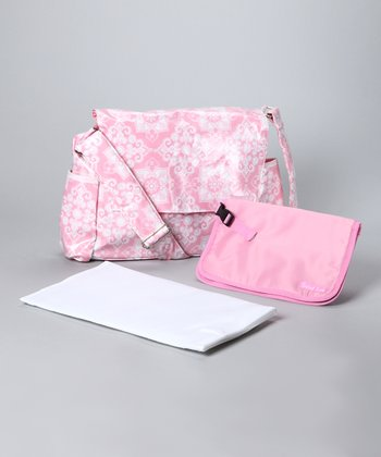 Pink Messenger Diaper Bag & Clutch