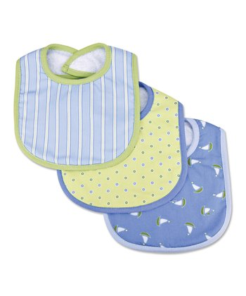 Light Blue & Sage Bib Set
