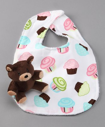 Cupcake Bib & Bear Plush Toy