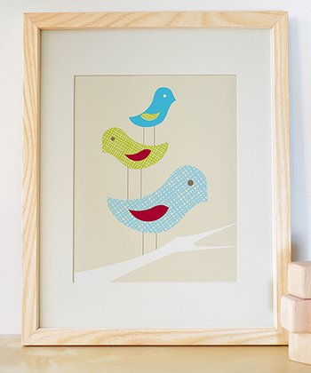 Blue Stacked Birds Print