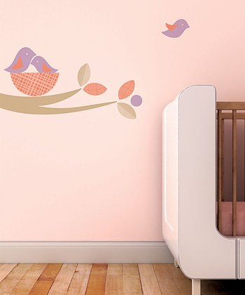 Beige & Violet Bird Nest Wall Decal Set