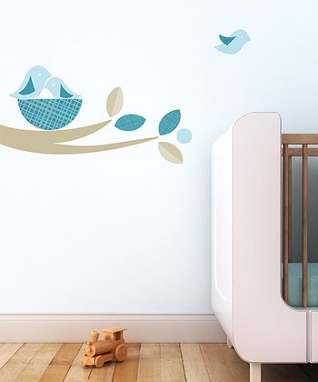 Beige & Aqua Bird Nest Wall Decal Set