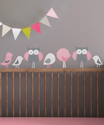 Gray & Pink Birds & Owls Wall Decal Set
