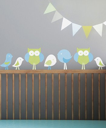 Green & Blue Birds & Owls Wall Decal Set