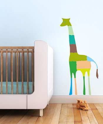 Green Giraffe Puzzle Wall Decal Set