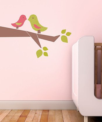 Strawberry & Green Love Birds Wall Decal Set