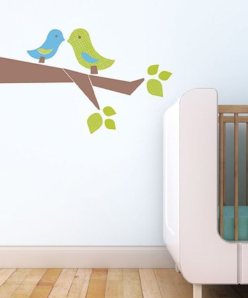 Blue & Green Love Birds Wall Decal Set