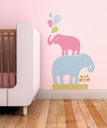Aqua & Green Stacked Elephants Wall Decal Set