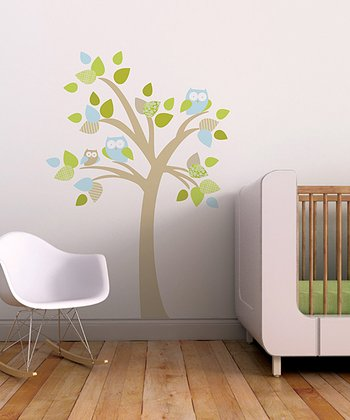 Trendy Peas Beige & Aqua Tree & Owls Wall Decal Set