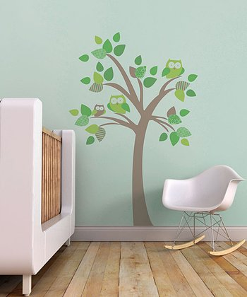 Brown & Green Tree with Owls Wall Decal Set