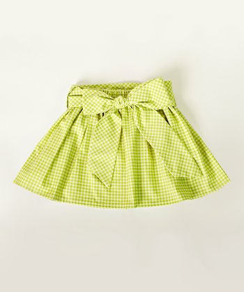 Green Gingham Sash Skirt - Girls