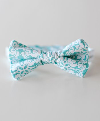 Blue & White Damask Bow Tie