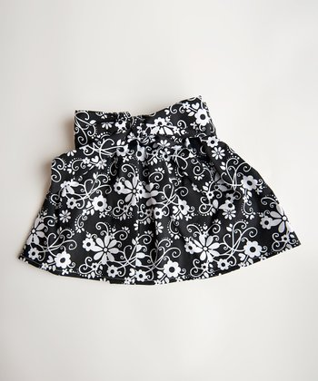 Black & White Flower Skirt - Toddler