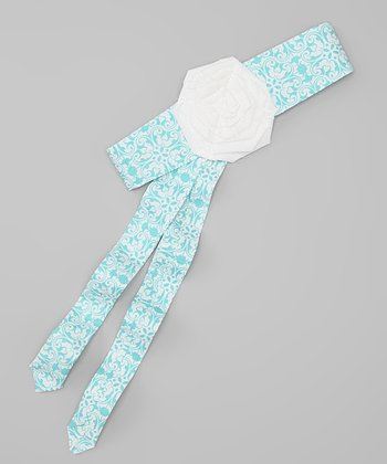 Baby Blue Damask Sash