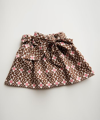 Brown & Pink Heart Skirt - Toddler