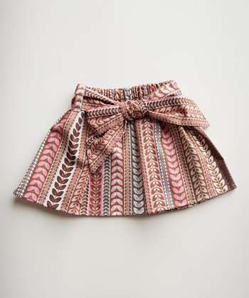 Pink & Brown Leaf Stripe Skirt - Toddler & Girls