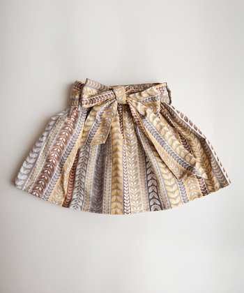 Yellow & Brown Leaf Stripe Skirt - Infant, Toddler & Girls