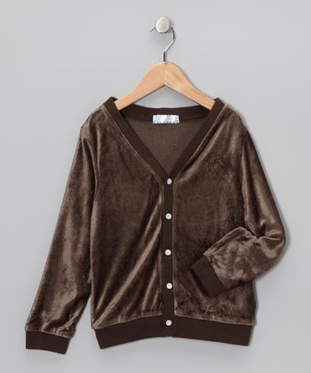 Brown Velour Cardigan - Toddler & Kids