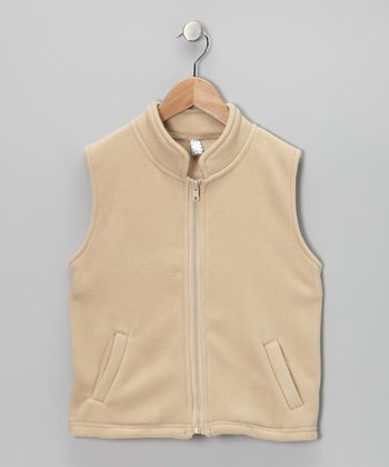 Beige Fleece Vest - Toddler & Kids