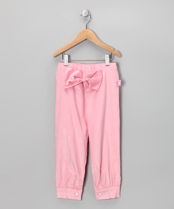 Pastel Pink Bow Corduroy Pants - Toddler & Girls