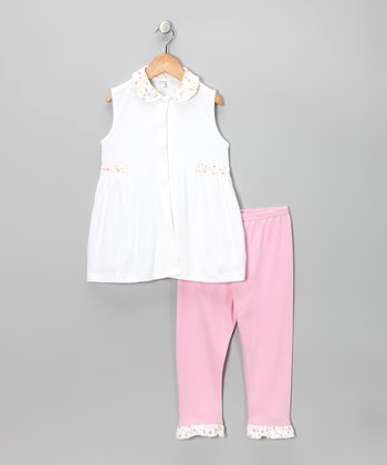 White & Pink Floral Tunic & Pants - Toddler & Girls