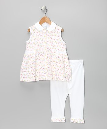 White Floral Tunic & Pants - Toddler & Girls