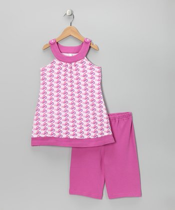 Pink Wave Yoke Tunic & Shorts - Toddler & Girls