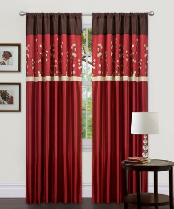 Red Cocoa Blossom Curtain Panel - Set of Two