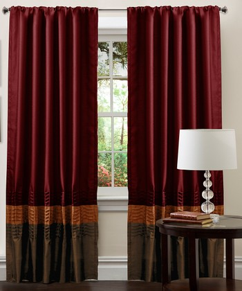 Brown & Red Mia Curtain Panel - Set of Two