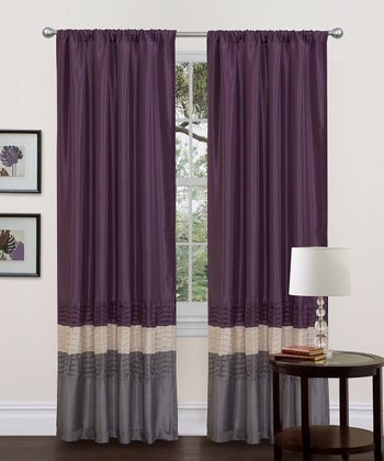 Gray & Purple Mia Curtain Panel - Set of Two